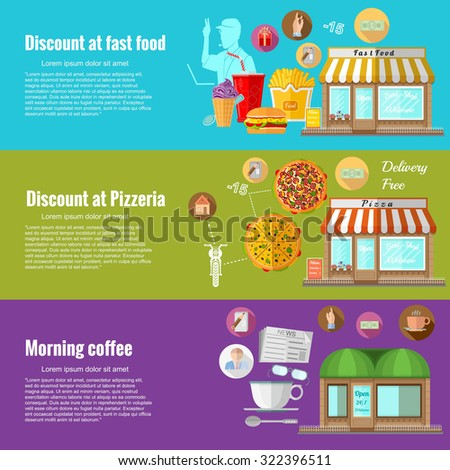 Flat design concepts for discount in fast food; discount at pizzeria; morning coffee. Concepts for web banners and promotional materials - stock vector