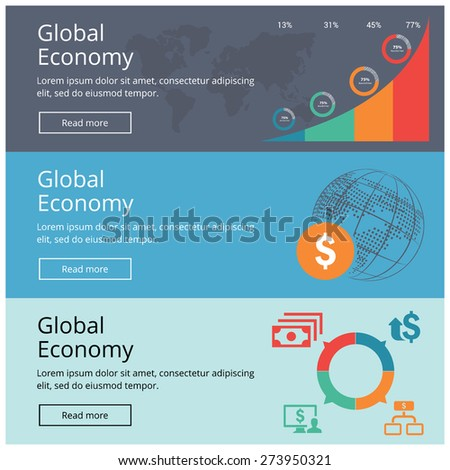 Flat design concepts for Global Economy website banner set Business Growing Chart and dollar icon composition with globe poster vector illustration. - stock vector