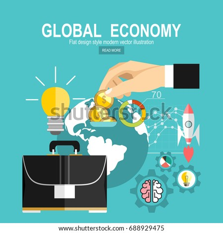 Flat design concepts for global economy, world economy, marketing analytic.