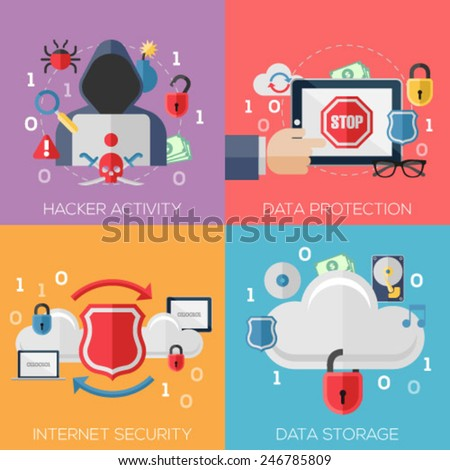 Flat design concepts for hacker activity, data protection, internet security, data storage. Concepts for web banners and promotional materials. - stock vector