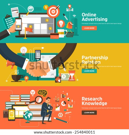 Flat design concepts for Online Advertising, Partnership Relation, Research Knowledge. Concepts for web banners and promotional materials. - stock vector