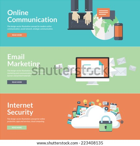 Flat design concepts for online communication, social network, strategic communication, email marketing, internet security, cloud computing. Concepts for web banners and promotional materials.     - stock vector