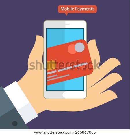 Flat design concepts of internet banking and mobile payments.  - stock vector