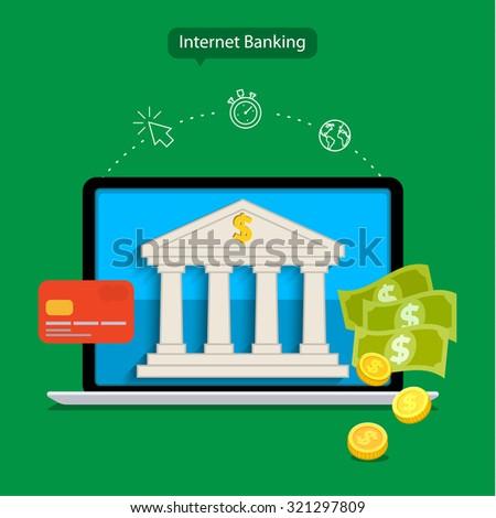 Flat design concepts of internet banking. Vector illustration - stock vector