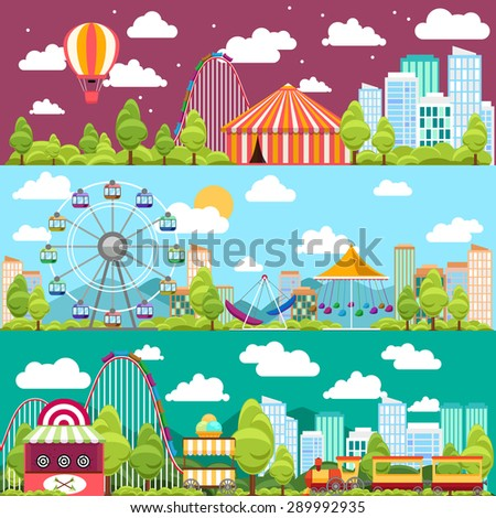 Flat design conceptual city banners with carousels. Slides and swings, ferris wheel attraction, vector illustration - stock vector