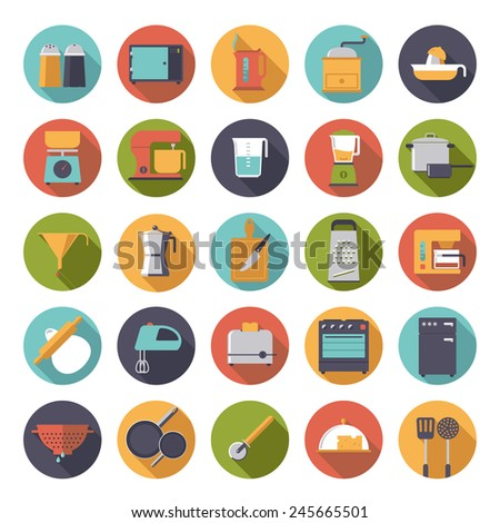 Flat Design Cooking Appliances Vector Icons Collection. Set of 25 kitchen and cooking related icons in circles. - stock vector