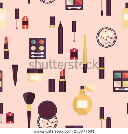 Flat design. Cosmetic pattern. Cosmetics product. Cosmetics background.  - stock vector