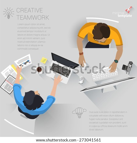 Flat design creative office workspace. Vector template.  - stock vector