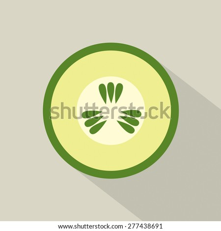 Flat Design Cucumber Icon Vector Illustration
