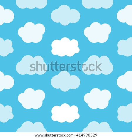 Flat design cute blue sky with clouds seamless pattern background.