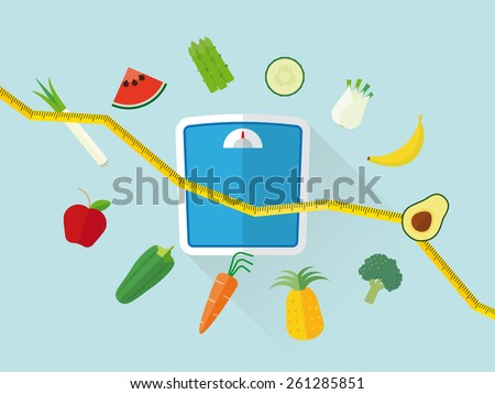 Flat Design Diet Concept. Fresh fruit and vegetables icons swirling around scales and tape measure resembling declining line graph - stock vector