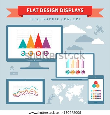 Flat Design Displays - Vector Infographics Concept - stock vector