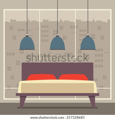 Flat Design Double  Bedroom Vector Illustration - stock vector