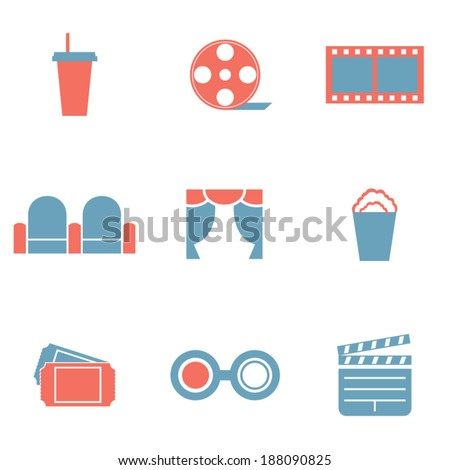 Flat Design Duotone Cinema Icons - stock vector