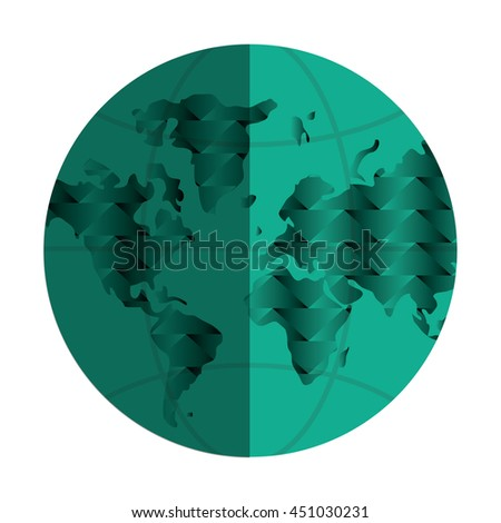 flat design earth globe icon vector illustration