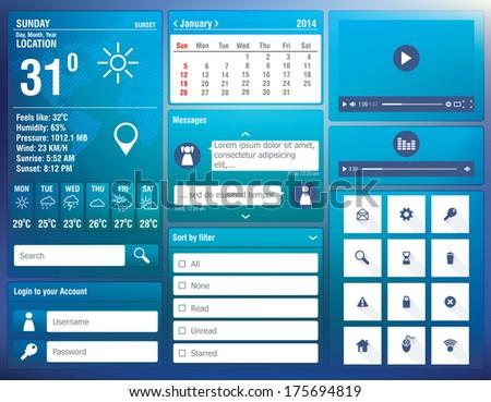 flat design elements for mobile app - vector illustration - stock vector