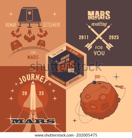 Flat design elements, vintage labels for Mars colonization program. The first humans on Mars - the Martian colonization project - stock vector