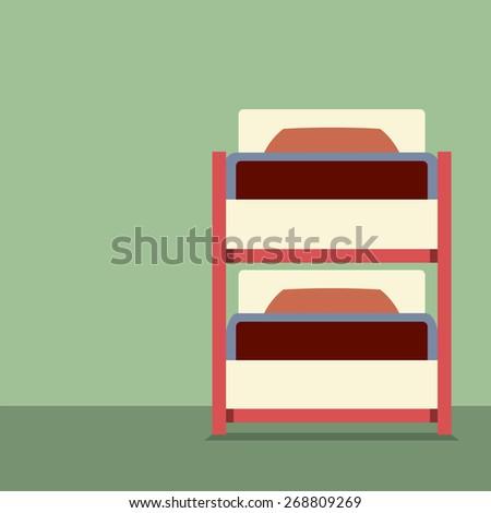 Flat Design Empty Bunk Bed Vector Illustration - stock vector