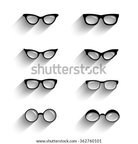 Flat design eyeglasses vector set with shadows. Retro, hipster styles - stock vector