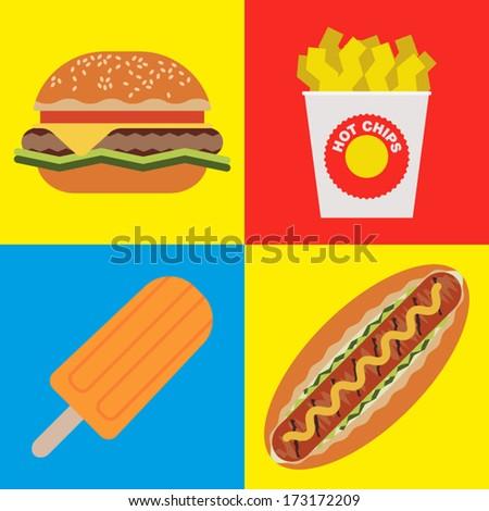 Flat Design Fast Food - stock vector