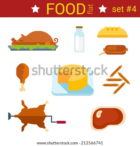 Flat design food vector icon set. Pig grilled, milk, sausage, cheese, chicken, bread, grill and baked. Food collection. - stock vector