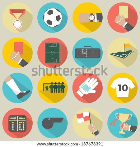 Flat Design Football / Soccer Icons Set 16 - stock vector