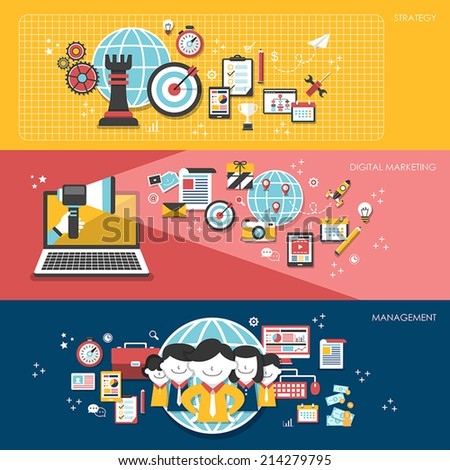 flat design for business marketing concepts set - stock vector