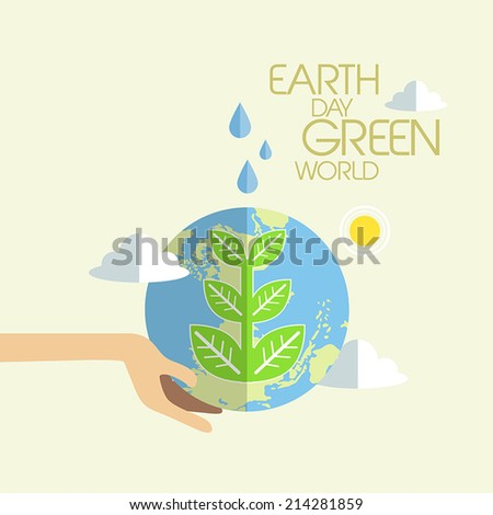 flat design for earth day green world concept graphic  - stock vector