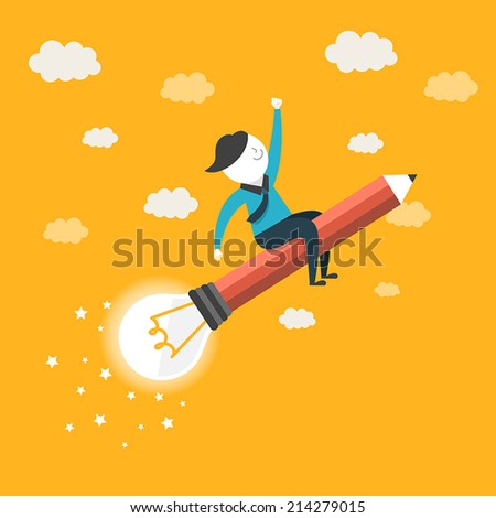 flat design for future growth concept graphic over yellow  - stock vector