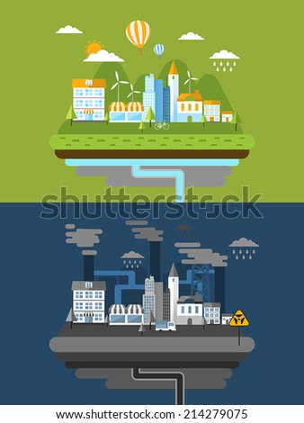 flat design for green energy and pollution concept  - stock vector
