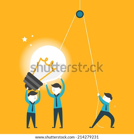 flat design for team work concept graphic over yellow  - stock vector