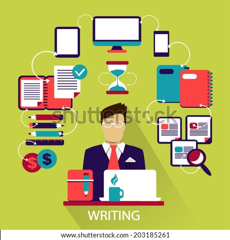 Flat design . Freelance career. Writing. - stock vector