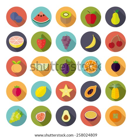 Flat Design Fruit Vector Icon Set. Collection of 25 fruit icons in circles, flat design, long shadow. - stock vector