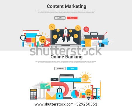 Flat design graphic  image concept, website elements layout of  Content Marketing and Online Banking. Icons Collection of Creative Work Flow Items and Elements. Vector Illustration - stock vector