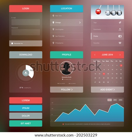 Flat design graphic user interface concept - vector illustration - stock vector