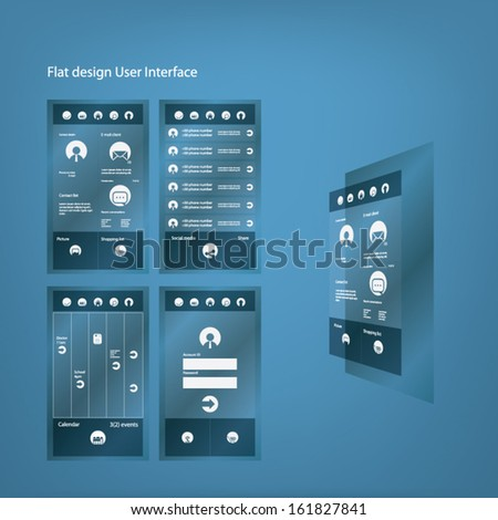 Flat design graphic user interface for smartphone with different screens and menu options and icons. Eps10 vector illustration - stock vector