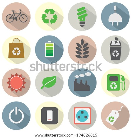 Flat Design Green Concept Icons - stock vector