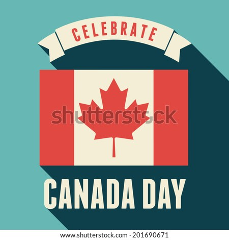 Flat design greeting card for the Canadian National Day, July 1, Dominion Day. - stock vector