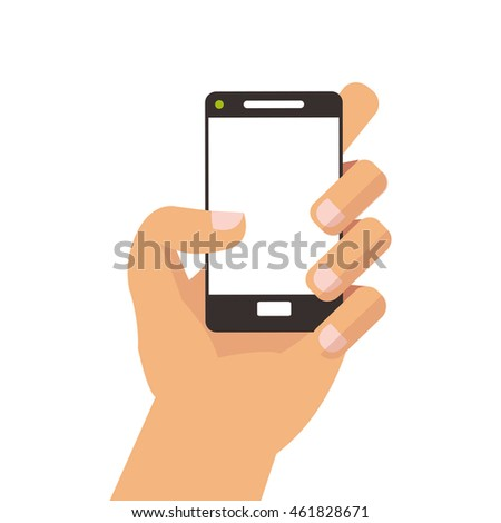 flat design hand holding modern cellphone icon vector illustration