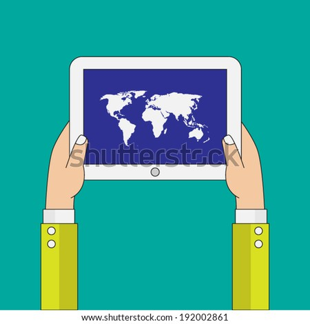 Flat design. Hands holding modern digital tablet.
