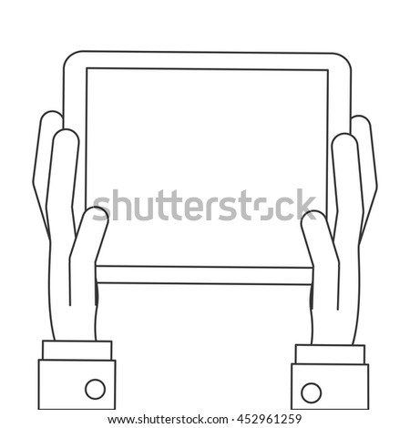 flat design hands holding tablet icon vector illustration - stock vector