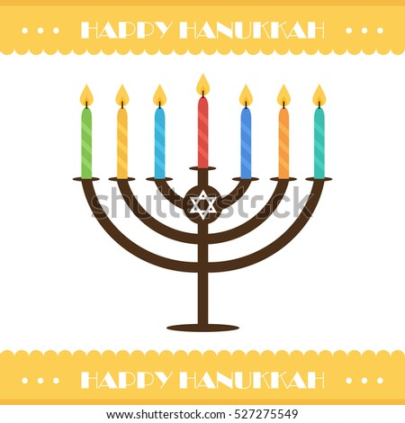 Flat design hanukkah vector card with menorah and colorful candles. Jewish traditional holiday.