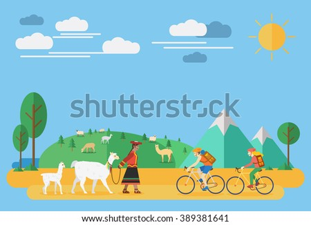 Flat design, Happy couple riding bicycles and a woman with alpacas in South America - stock vector