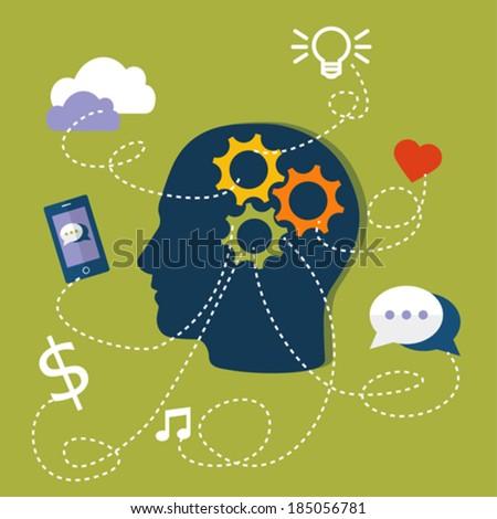 Flat Design Human Brain Illustration - stock vector