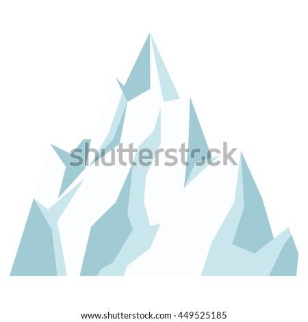 flat design ice mountain icon vector illustration - stock vector