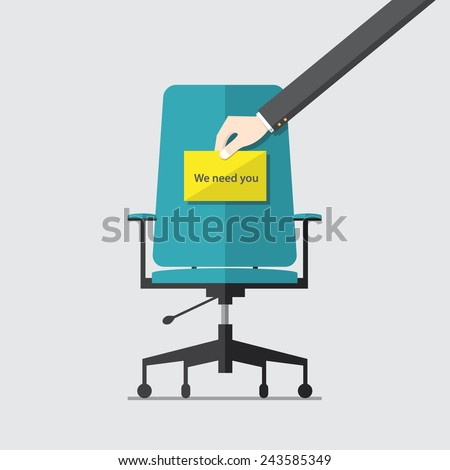 Flat design icon for business chair with Hand holding cardboard paper with we need you message, vector,  illustration - stock vector