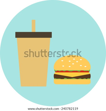 Flat  design icon hamburger with drink - stock vector