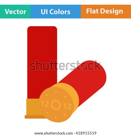 Flat design icon of ammo from hunting gun in ui colors. Vector illustration. - stock vector