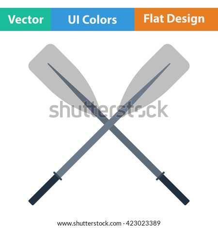 Flat design icon of  boat oars ui colors. Vector illustration. - stock vector