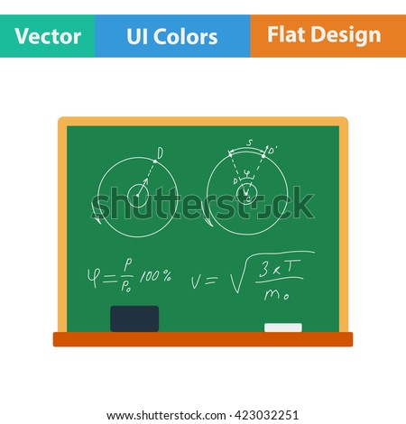 Flat design icon of Classroom blackboard in ui colors. Vector illustration.